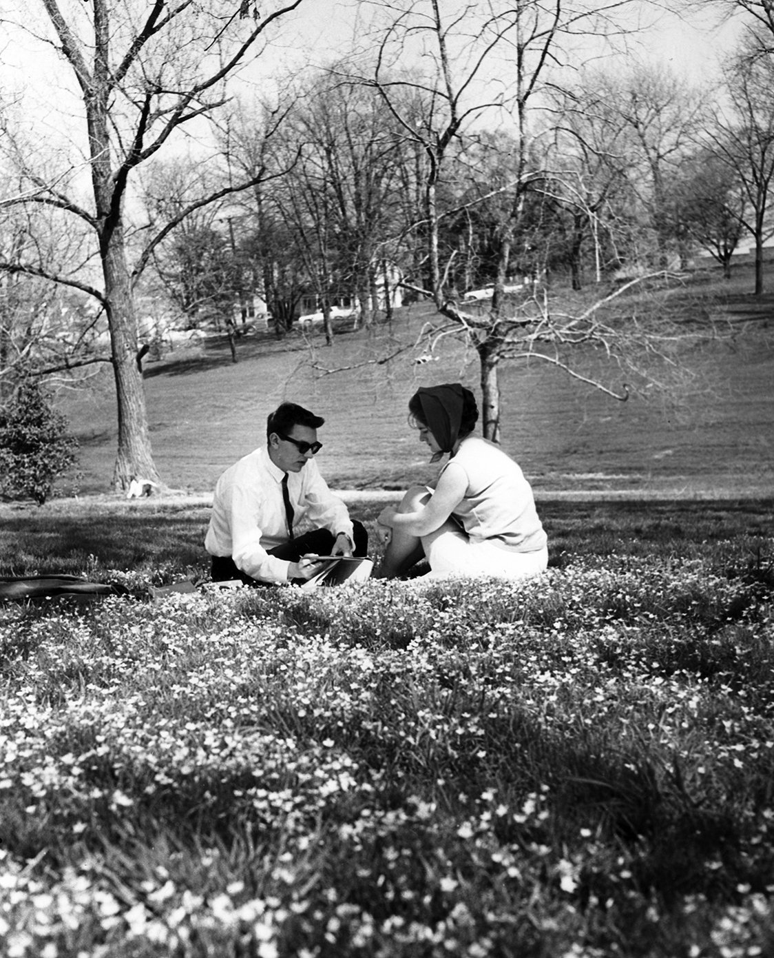 Students in the Ravine, 1967.  EKU Photo Collection.