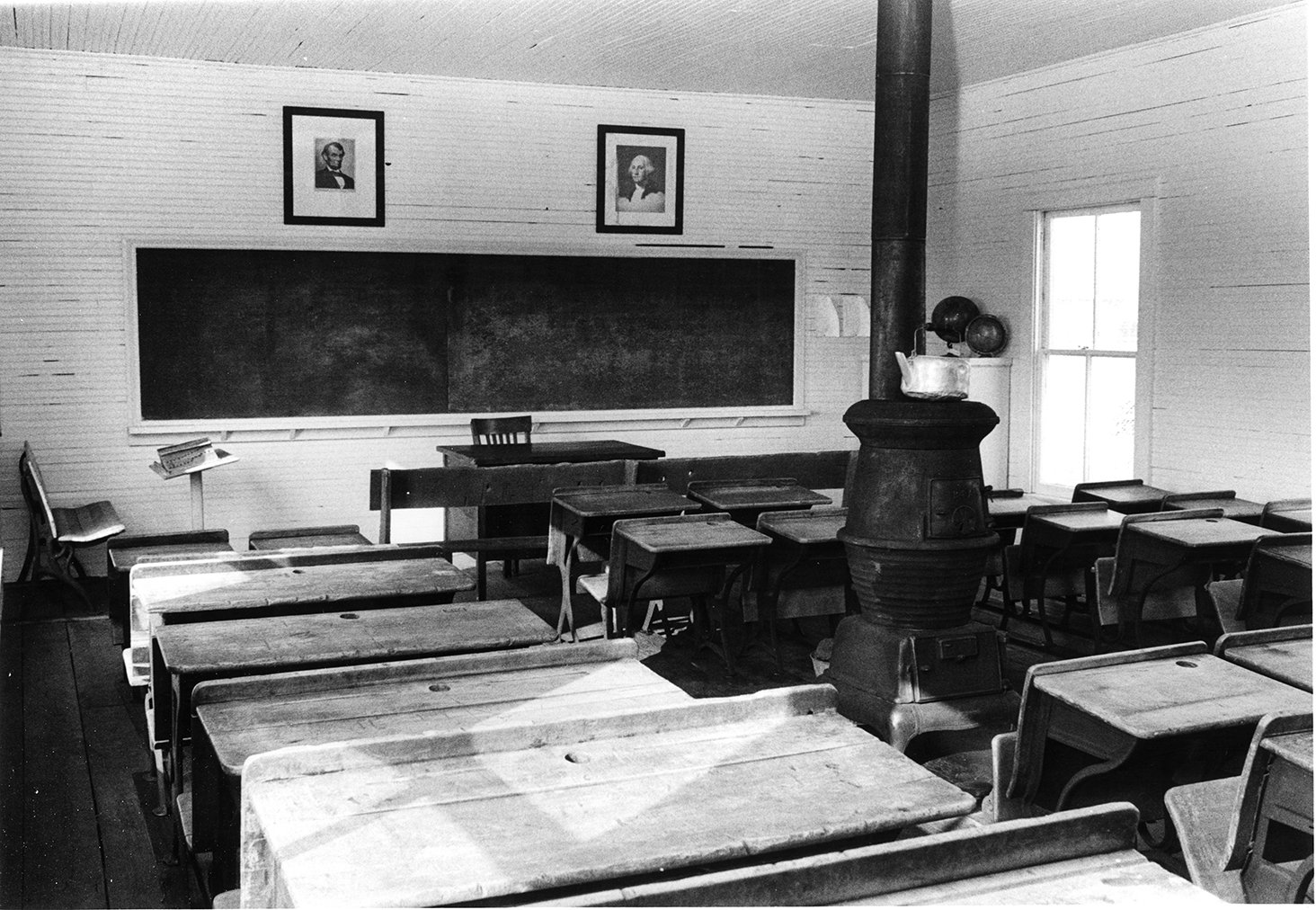 The interior of the schoolhouse, 1960s.  EKU Photo Collection.