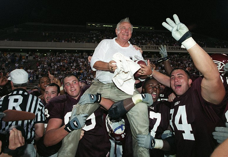 Coach Roy Kidd's 300th win, September 2001. EKU Photo Collection