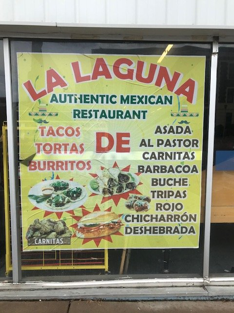 Food menu outside of La Laguna Market