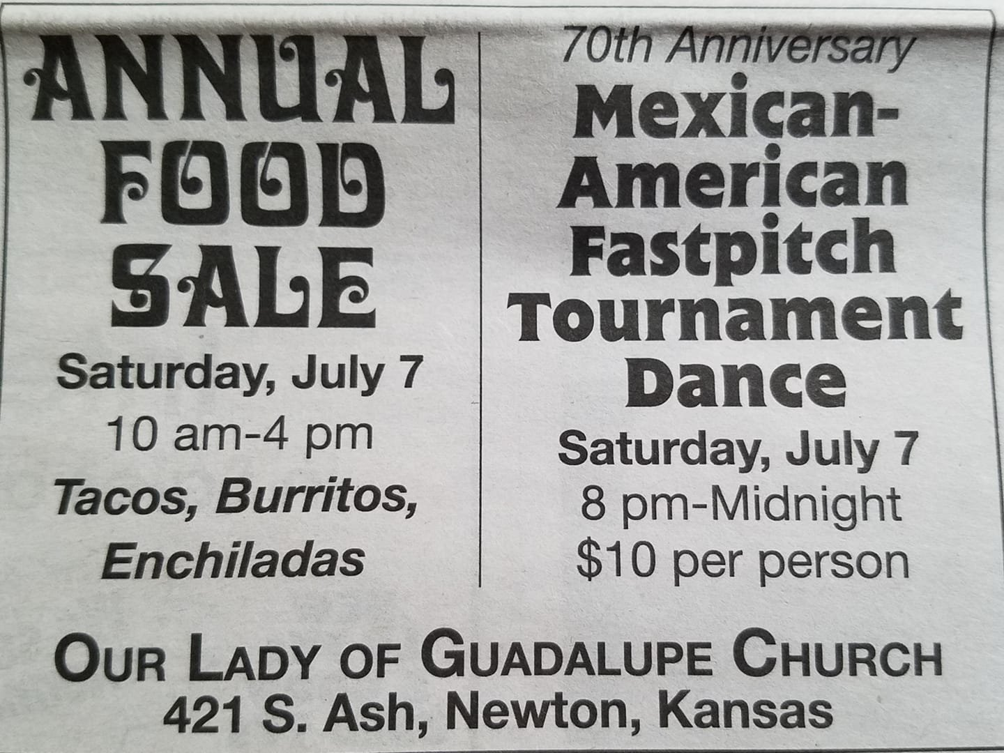 Annual Food Sale at Our Lady of Guadalupe Church in Newton, Kansas.