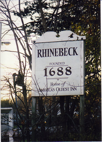 "Rhinebeck, New York sign advertising the ""Oldest Inn in America"" the Beekman Arms"