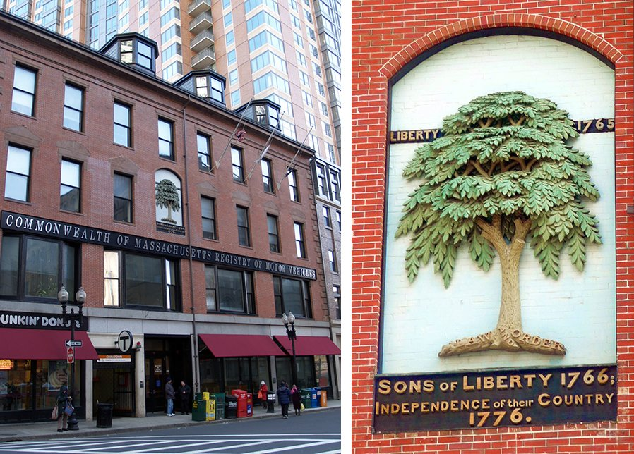 The Liberty Tree was located at the site of this building, which includes a plaque as well as a bas relief image of the tree.