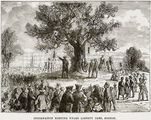 Artist's rendition of one of the meetings at the Liberty Tree