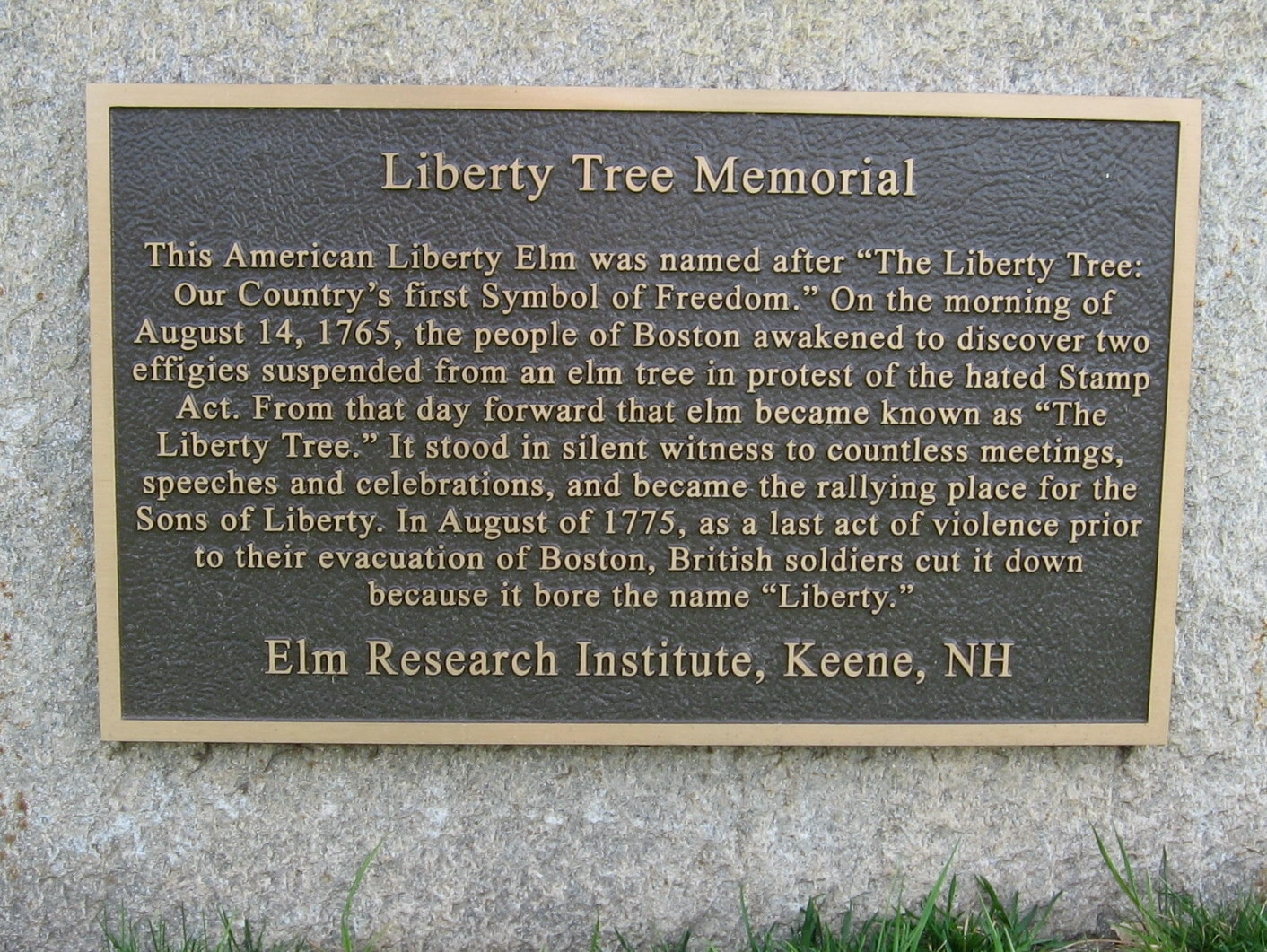One of several plaques that denote the location of the Liberty Tree