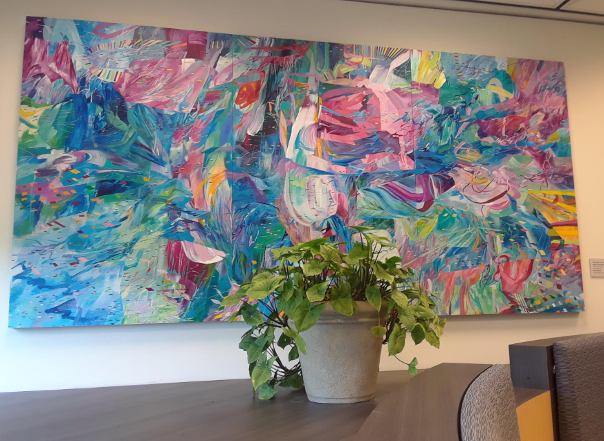 Untitled painting by Amy Schissel on the second floor of Evansdale Library
