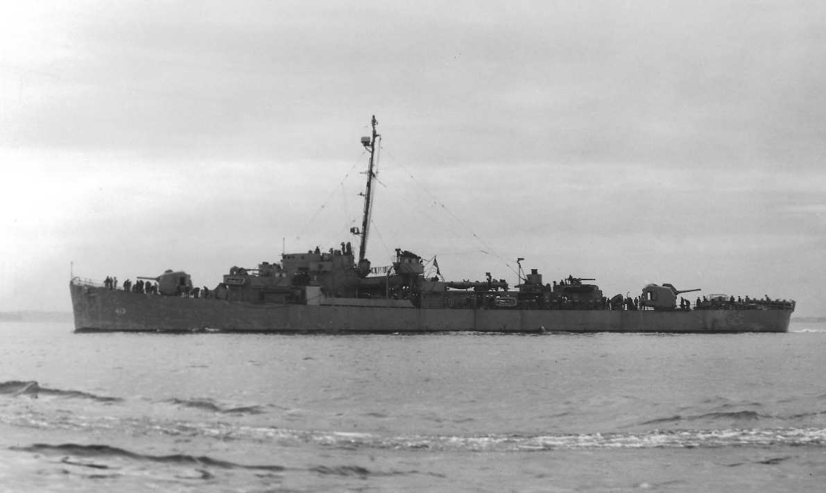 """Off the coast of Boston in June 1944, USS Samuel B. Roberts, """"The Destroyer Escort that fought like a Battleship"""" ran out of 5 inch shells during the fighting before sinking."""