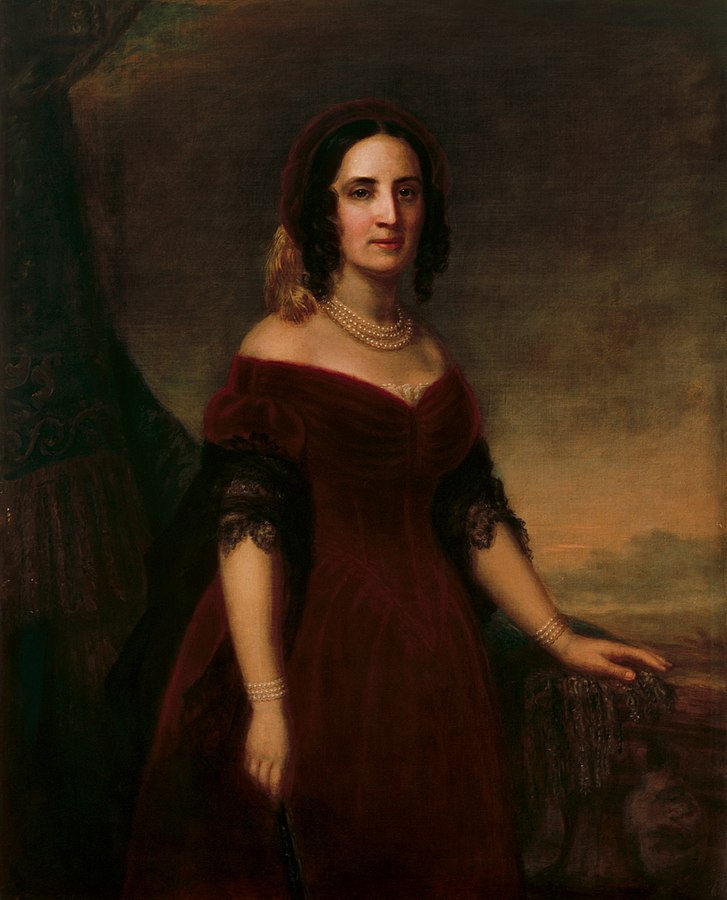 First Lady Sarah Childress Polk (1803-1891) was the sister of John Childress, and occasionally visited his home. Image obtained from Wikipedia.