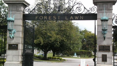 Entrance to Forest Lawn Cemetery
