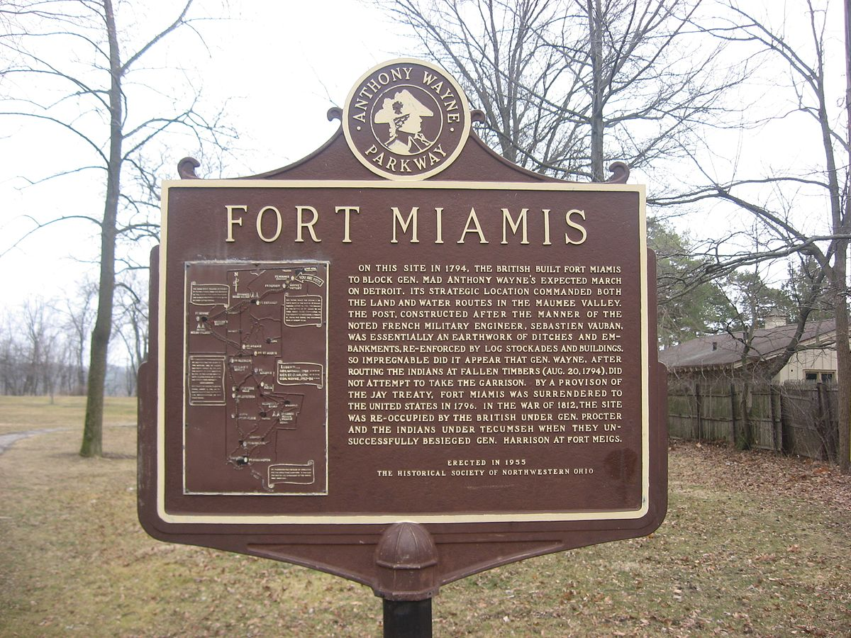 A marker detailing the history of Fort Miamis.