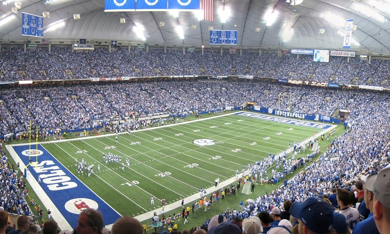 Interior of the RCA Dome prior to kickoff of an Indianapolis Colts game.