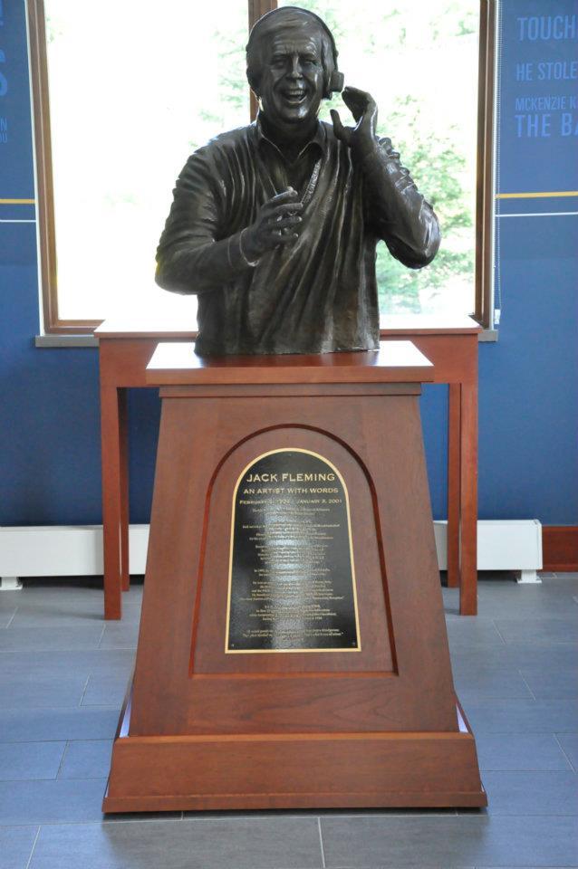 The jack Fleming statue located in Jack Fleming Corner in the Erickson Alumni Center at West Virginia University.