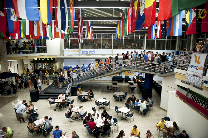 The Mountainlair's cafeteria and food court, featuring flags from around the world.