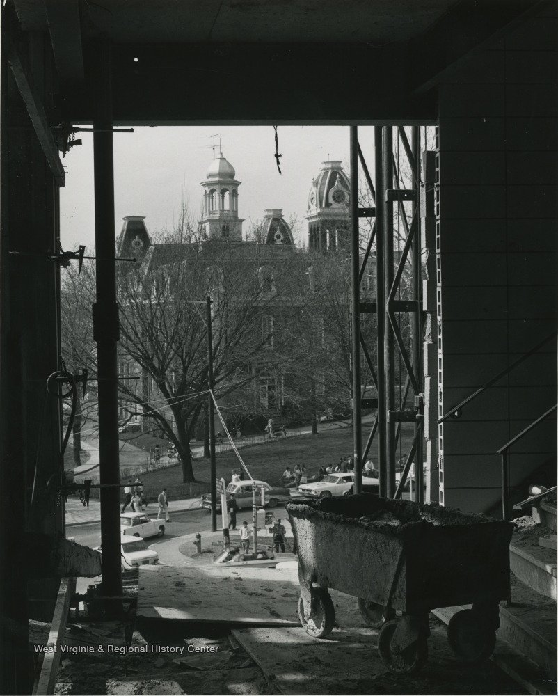 View towards Woodburn Circle and including Martin Hall during the construction of the new Mountainlair in 1966. Photo courtesy of West Virginia and Regional History Center, WVU Libraries.