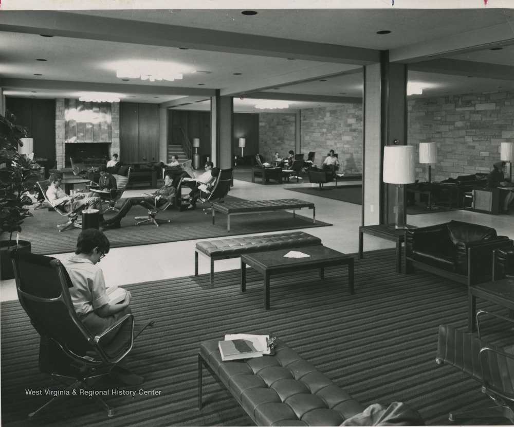 New Mountainlair lounge where students still relax and study today. Photo courtesy of West Virginia and Regional History Center, WVU Libraries.