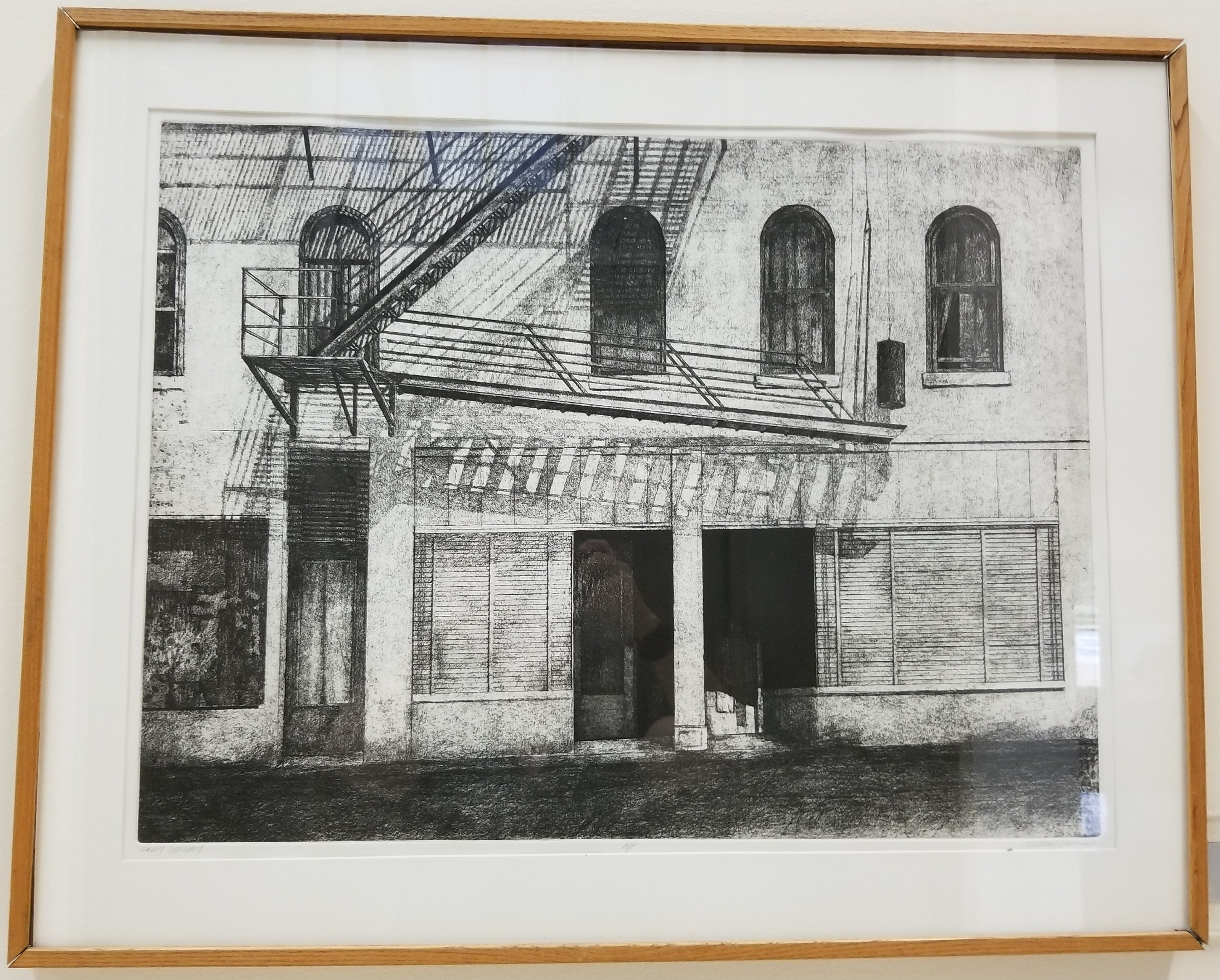 """Gray Sunday"", by Michael Morin. Lithograph. On display on the second floor of the Mountainlair down the hall to the left after coming up the main stairs. In the permanent Mountainlair Collection."