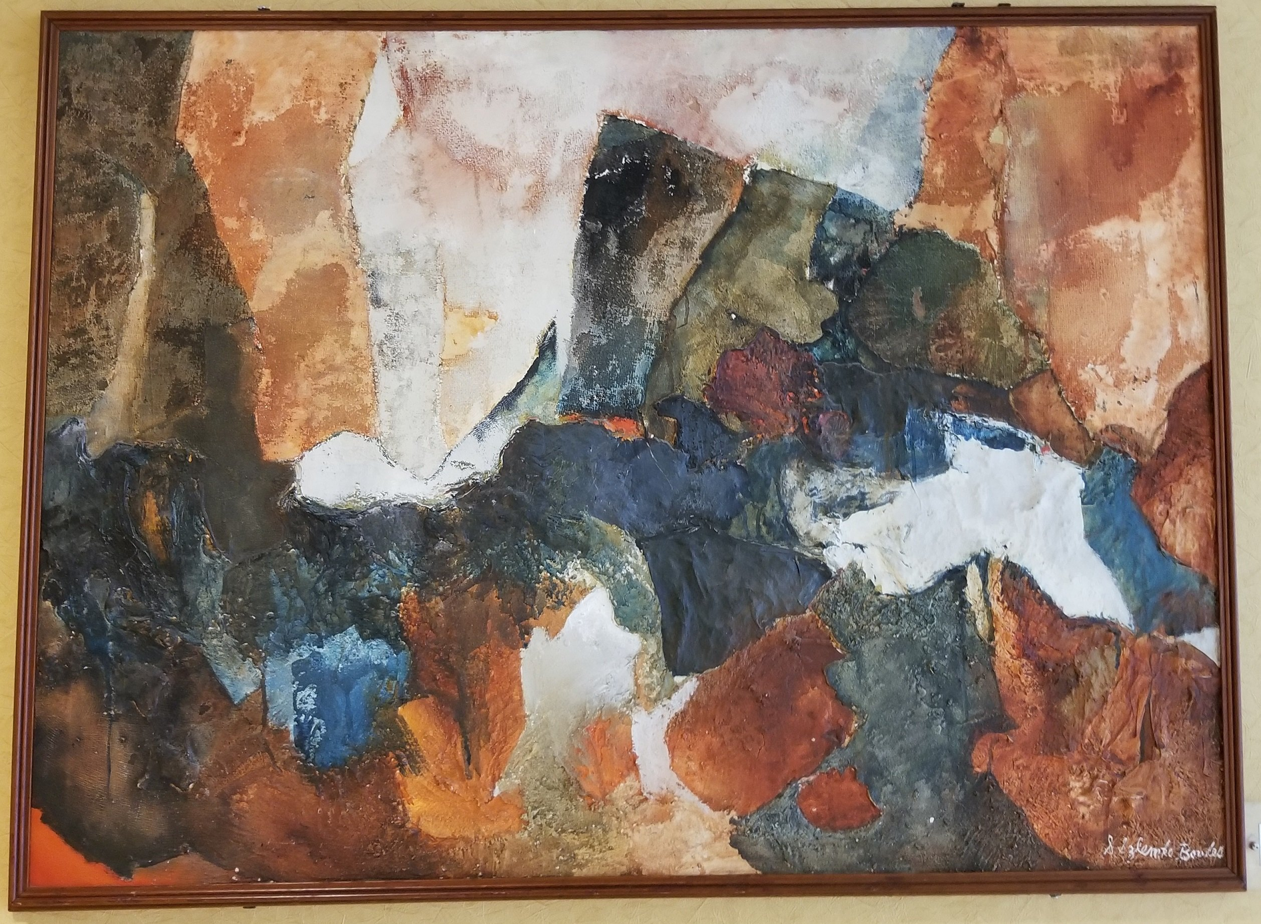 """Untitled Abstract"" by Suzanne S. Bowles. Oil painting. On display on the second floor of the Mountainlair down the hall to the right after coming up the main stairs. In the permanent Mountainlair Collection."