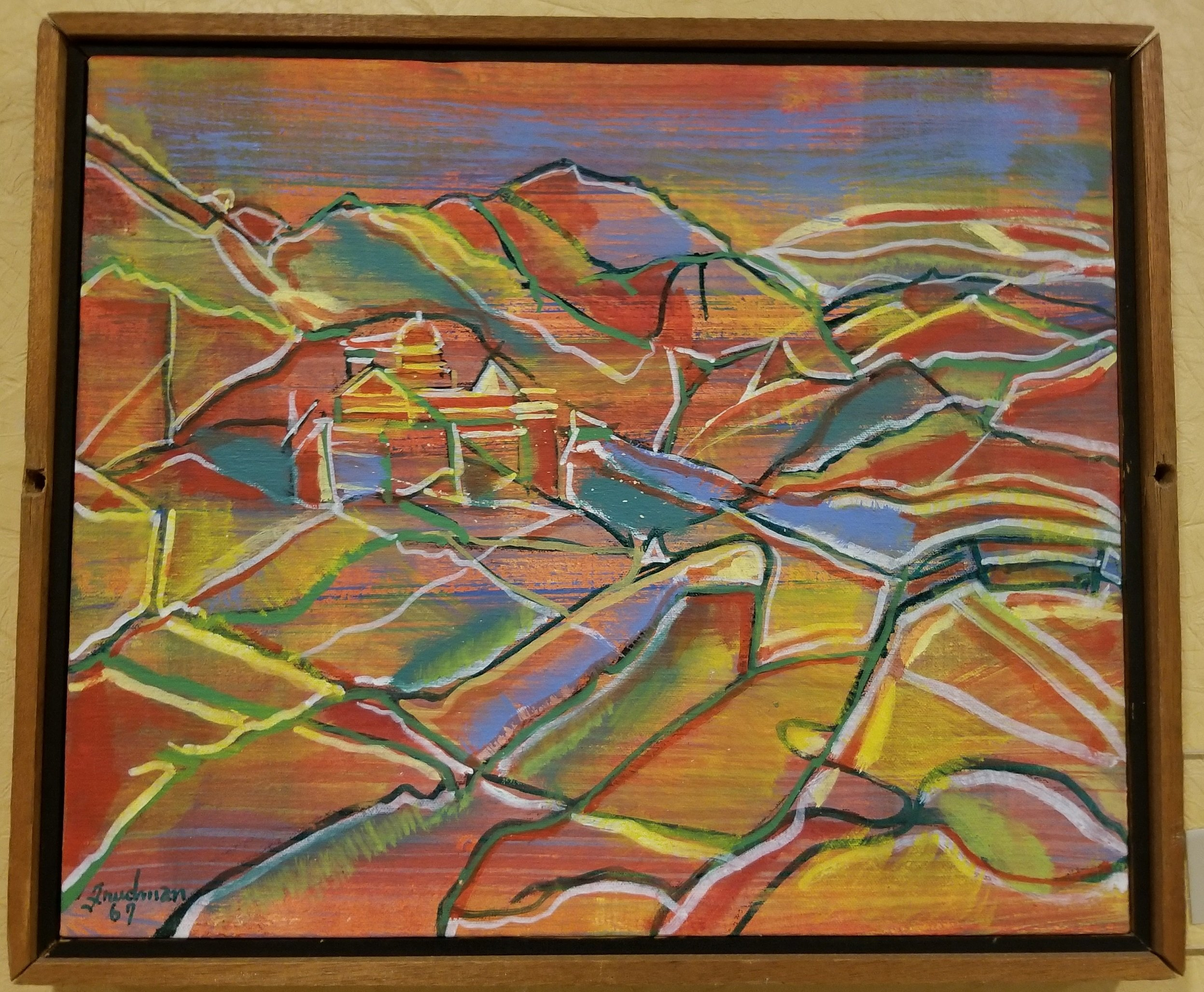 """Humphrey Mine"" by Ben Freedman. Acrylic painting on canvas. On display on the second floor of the Mountainlair down the hall to the right after coming up the main stairs. In the permanent Mountainlair Collection."