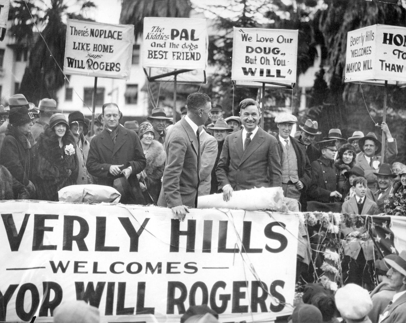 A ceremony in Beverly Hills declaring Will Rogers as the Honorary Mayor the city, December 1926