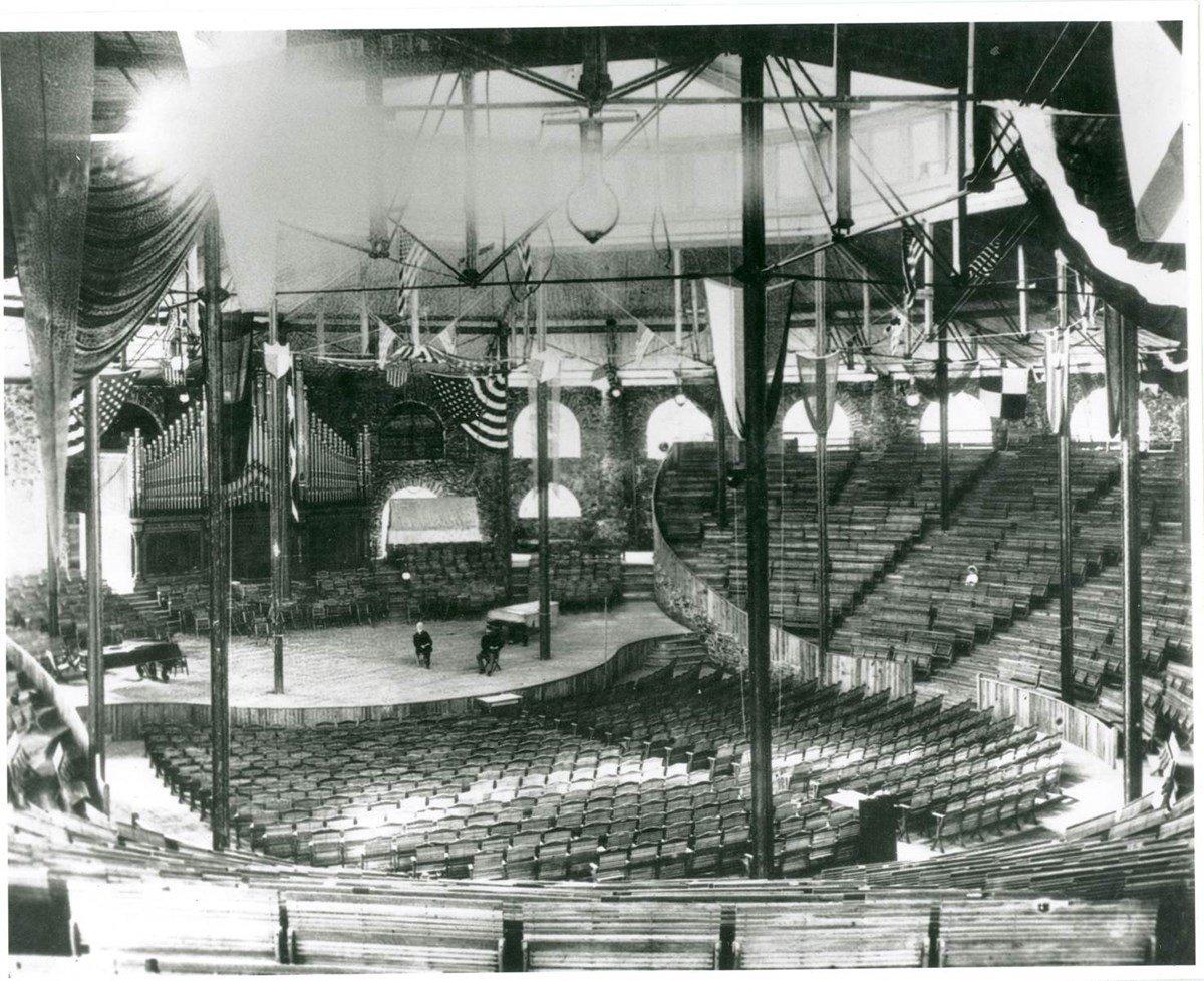 Interior Picture of the Original Amphitheater, National Park Service Glen Echo Park Photo Archives, late 1800s (public domain)