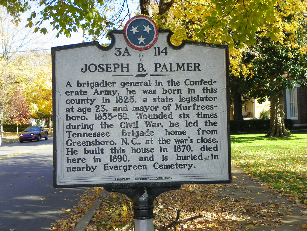 A historical marker describing Joseph Palmer stands near the house. Image obtained from flickr.