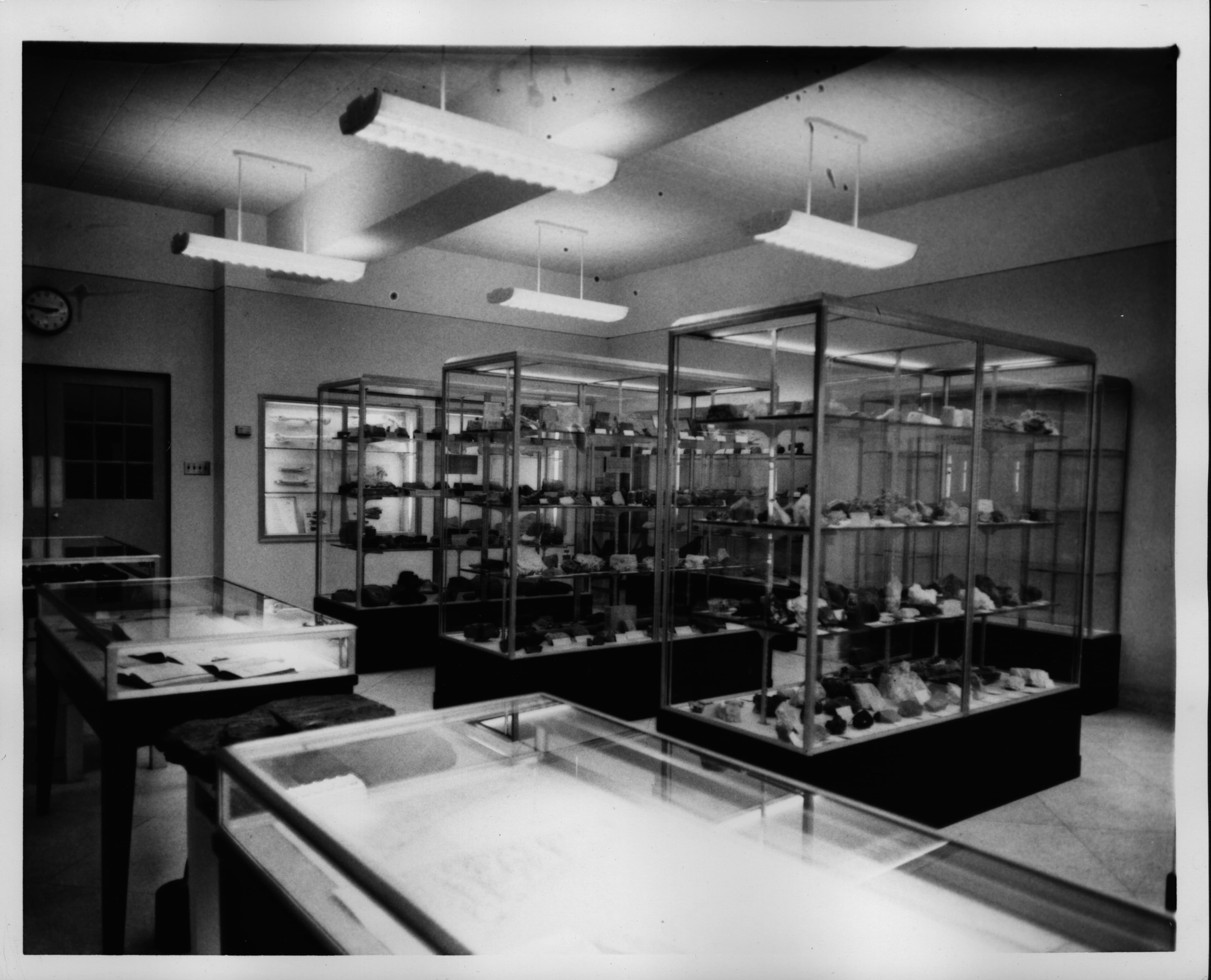 Displays, such as this geology museum on the third floor in 1950, were meant to provide scientific knowledge to the general student body.