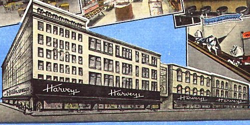 Harveys grew to include a series of connected buildings facing Church Street and on the east side of 6th Avenue.