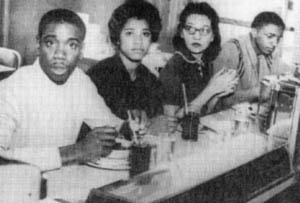 Four Nashville students including Diane Nash participate in the Nashville sit-ins