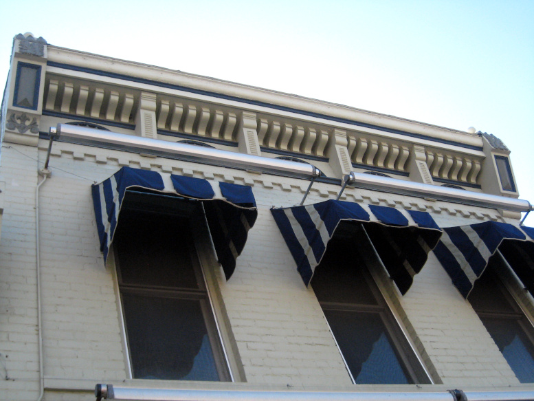 Lyman Levi Ball Building, west elevation cornice detail, 2020