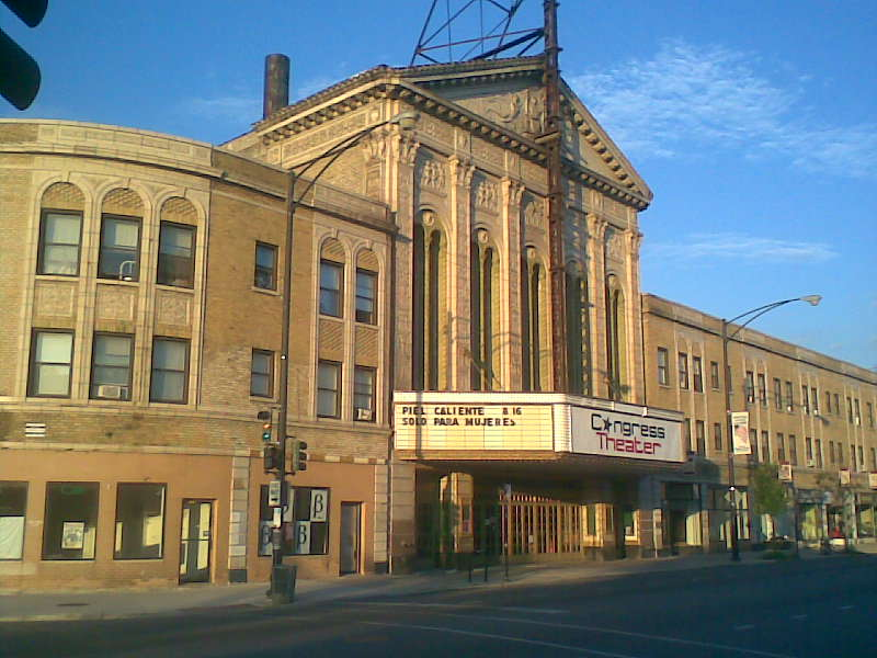 Exterior view of the Congress Theater on Milwaukee Avenue, Chicago, looking East.