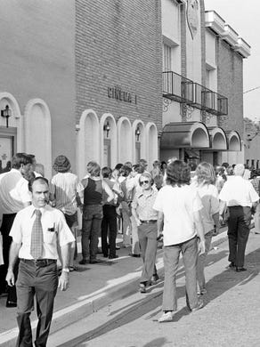 "People Lining Up at the Belcourt Theatre for the Release of ""Last Tango In Paris,"" 1973"