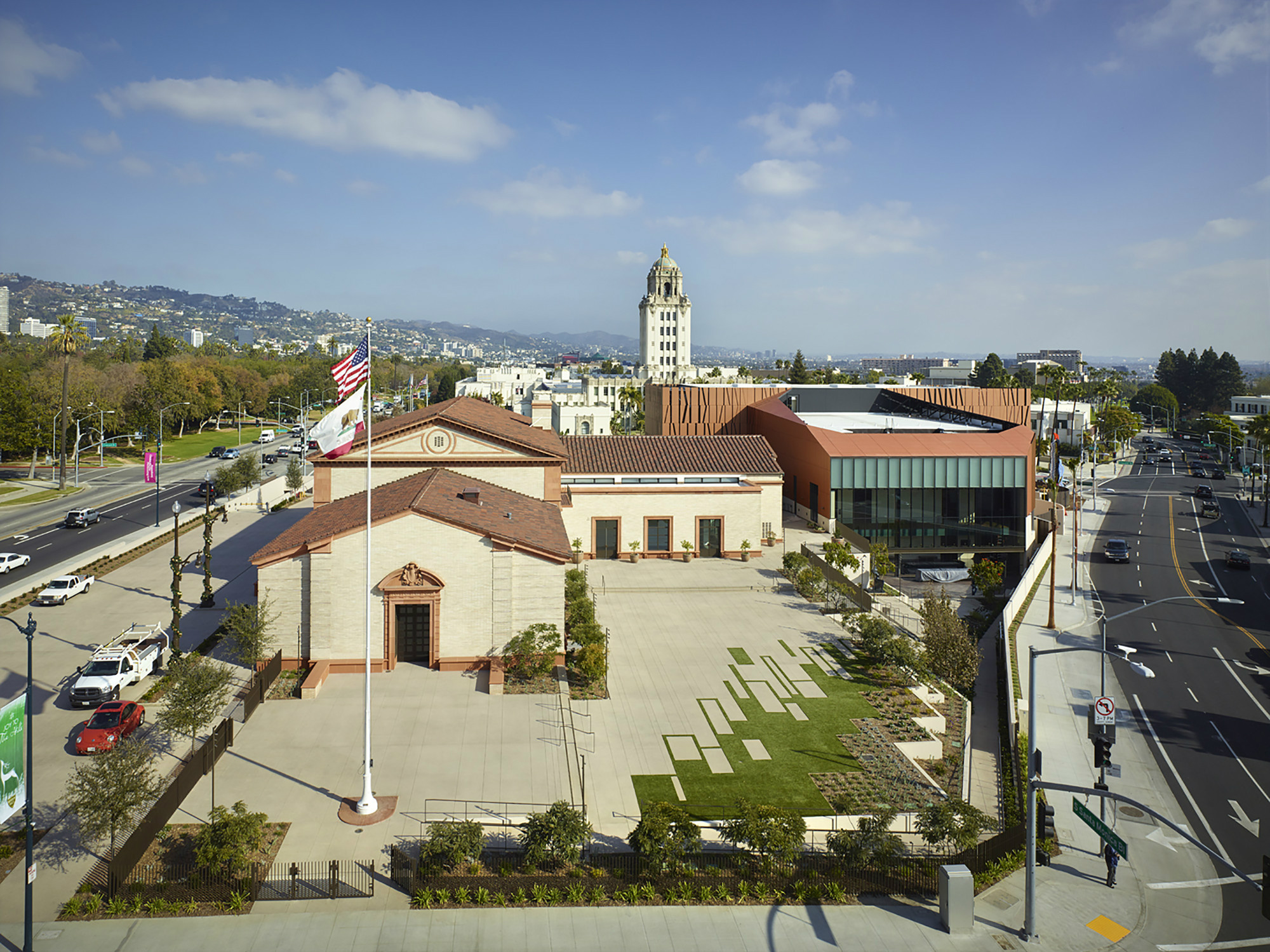 An aerial shot of the Wallis Annenberg Center for the Performing Arts and the old Beverly Hills Post Office