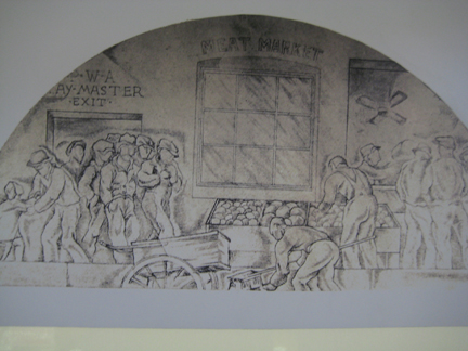 One of the eight fresco murals done by artist Charles Kassler, Jr. for the Beverly Hills Post Office in the mid 1930s. This lunette features the Public Works Administration (PWA) putting men back to work during the Great Depression.