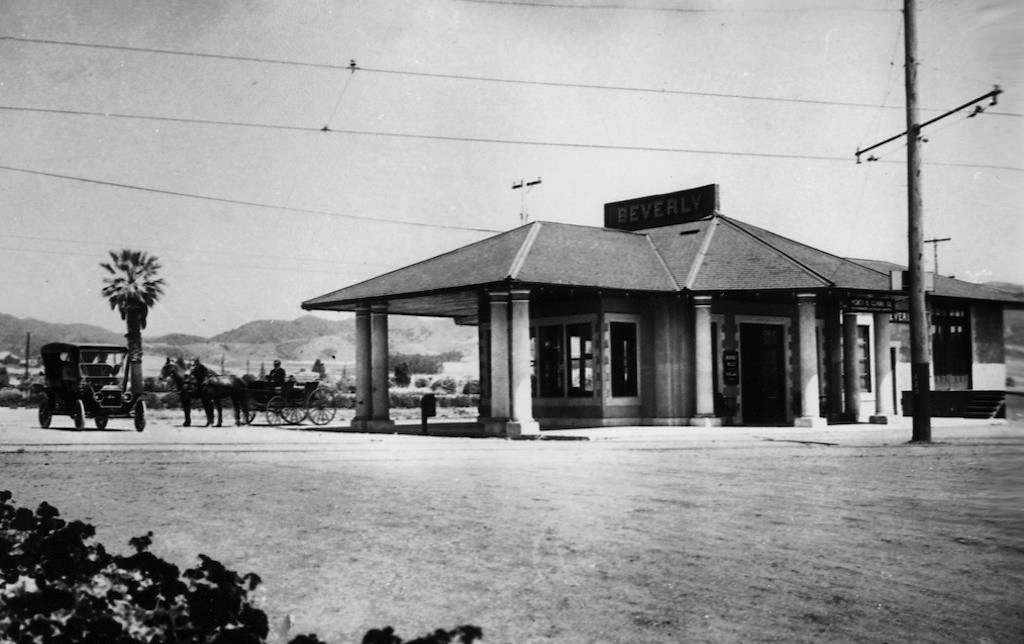 Before the Post Office was built during the New Deal, Beverly Hills' first train station, the Pacific Electric Railway station ,was located on the corner of Santa Monica Blvd.