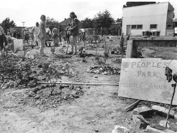 "Community Activists first create the ""People's Park Annex"" in May 1969 from a vacant lot on Hearst Avenue, as part of a vision of ""letting a thousand parks bloom"""