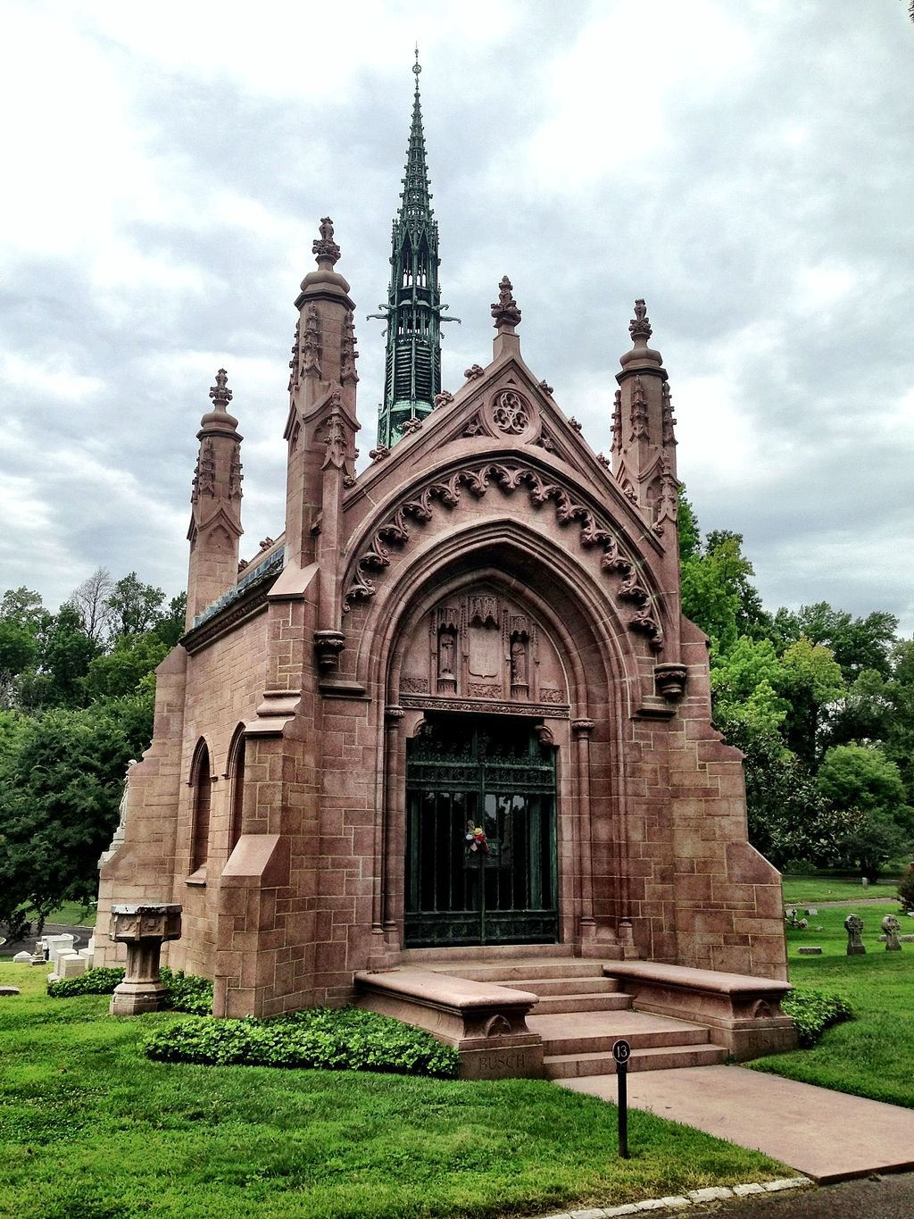 The Busch Mausoleum is one of several large elaborate tombs in the cemetery.