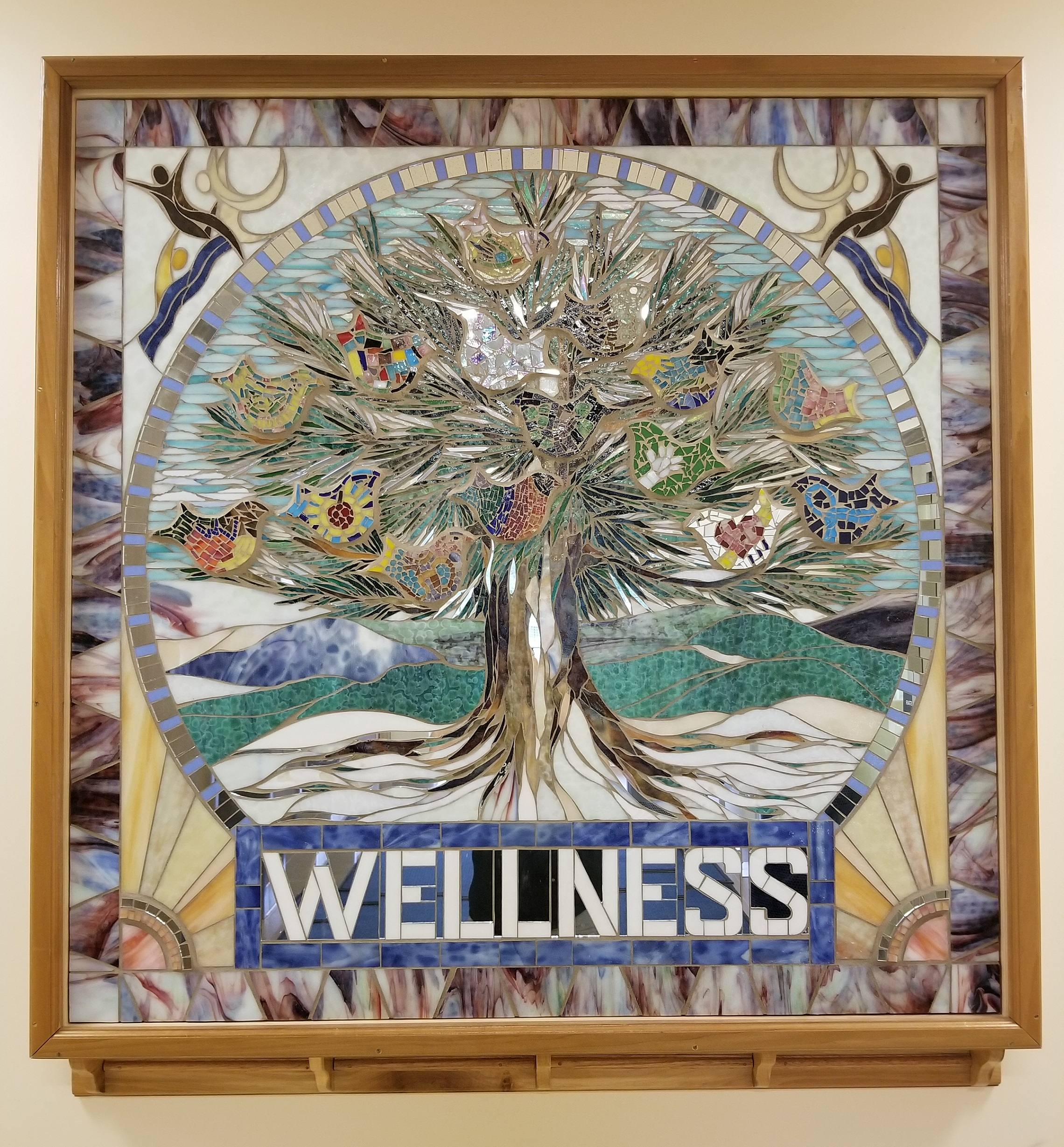 """Wellness"" mosaic, by Deborah Palmer. Ground floor, located next to elevators."