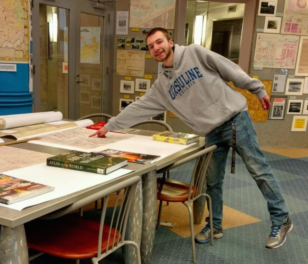 Found it!  Clay researches the  various locations of our Ursuline College campuses using the map collection at our own Cleveland Public Library.