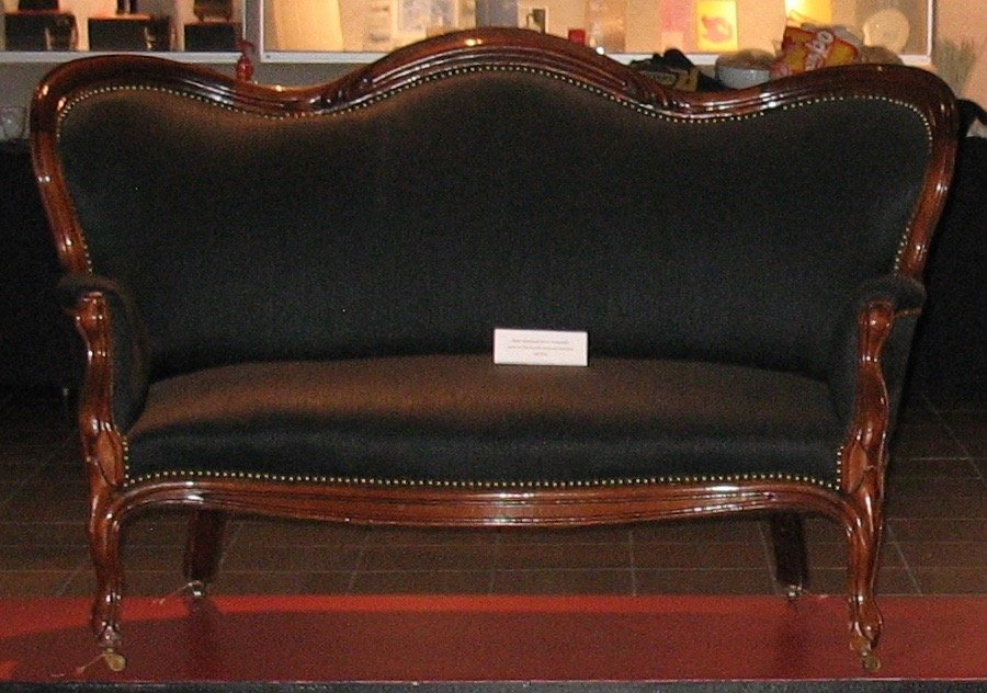 This 1870s sofa graced the formal rooms at Ursuline College's first campus.