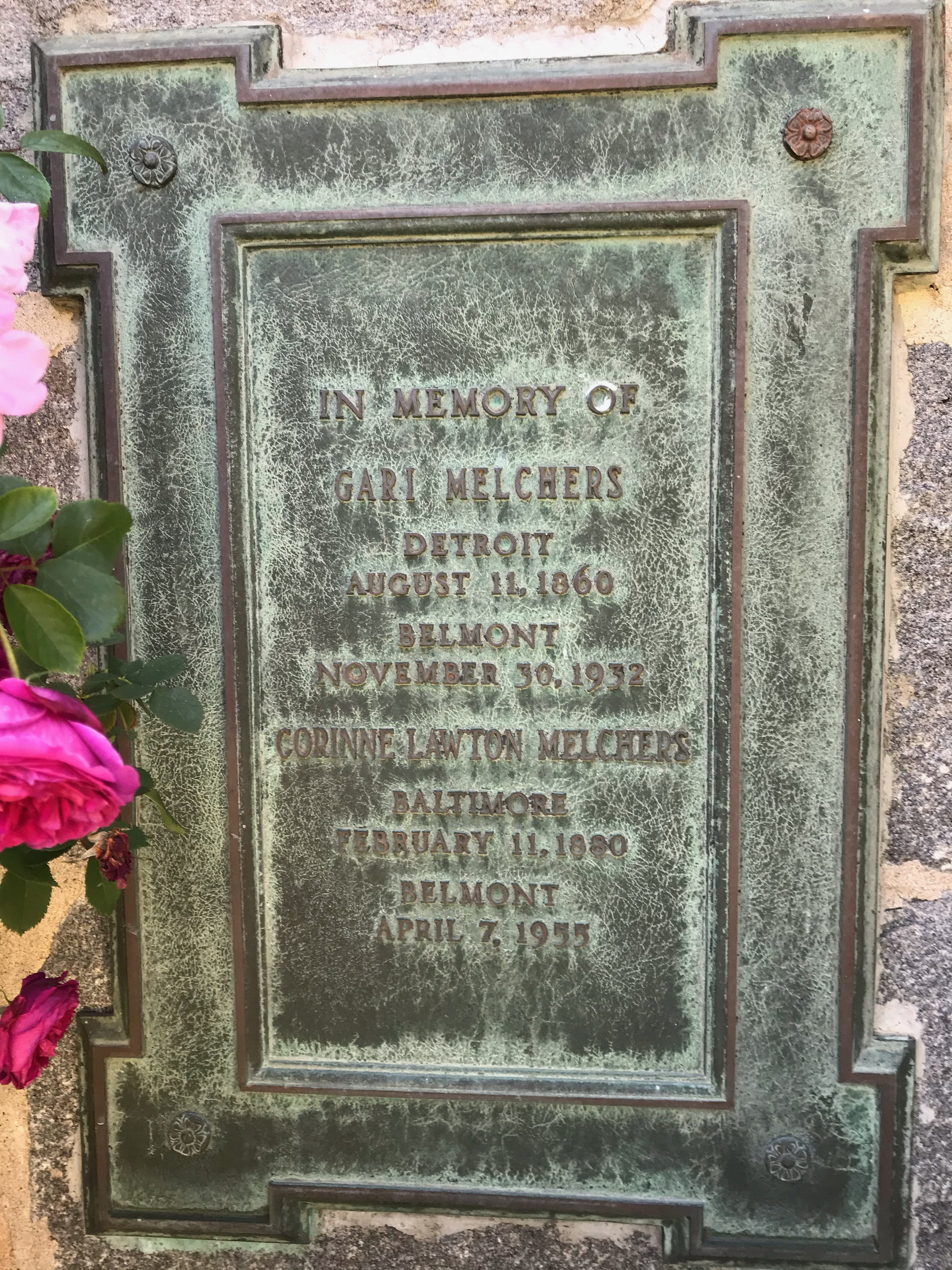 Interment Plaque, please note that Corinne Melchers' birthday is actually February 27, 1880.