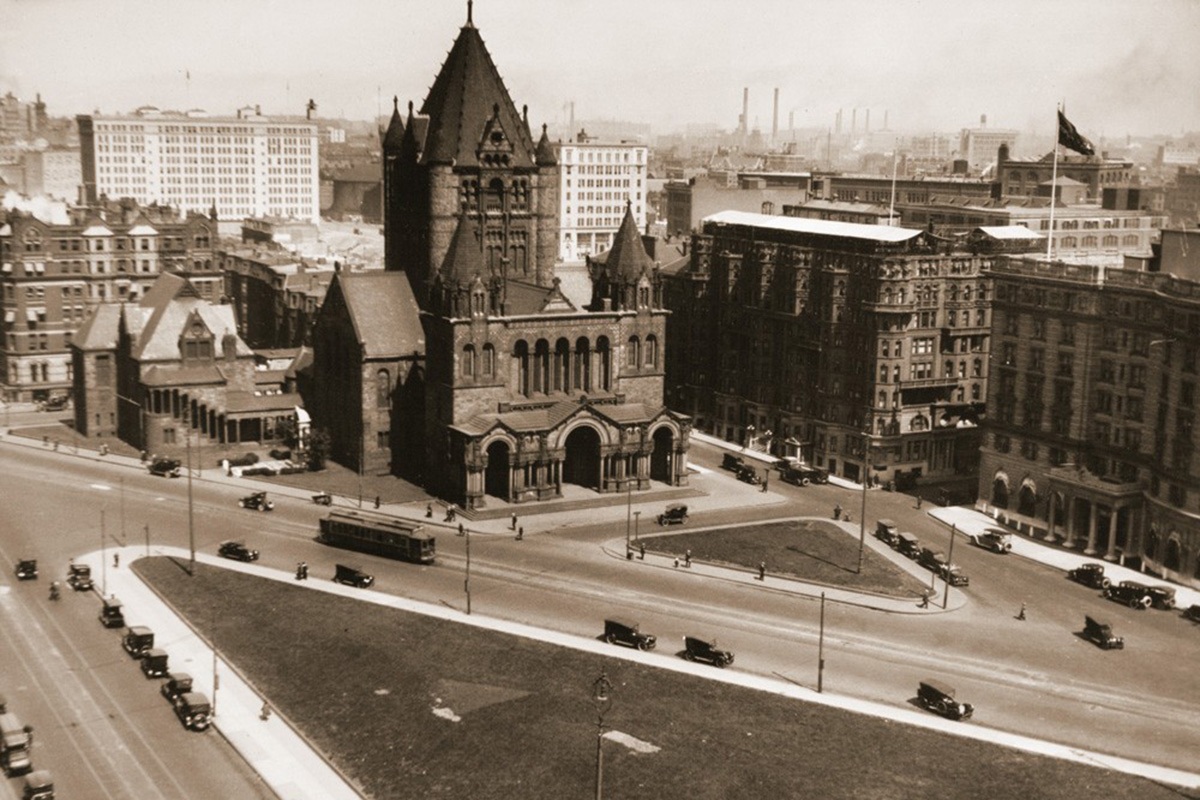 Copley Square before its remastering, with Huntington Ave. bisecting it.