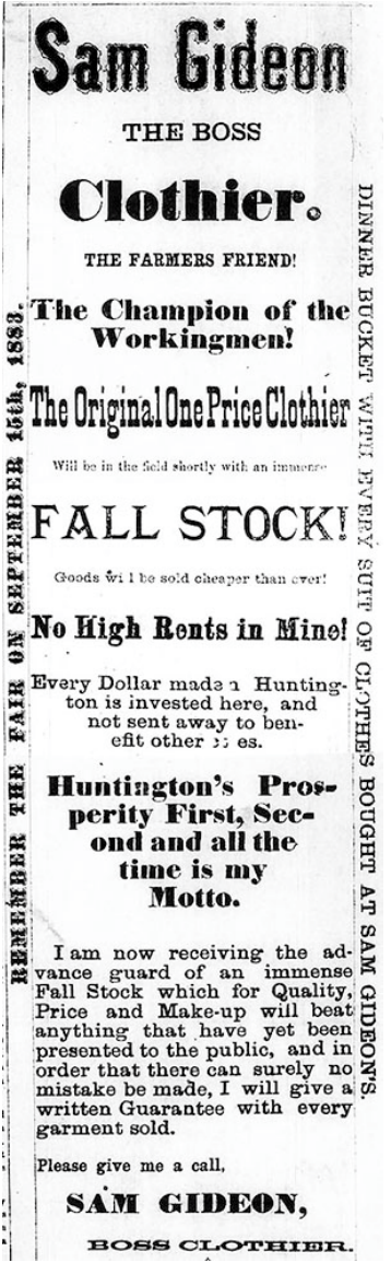 Ad for Sam Gideon's clothing business from 1883