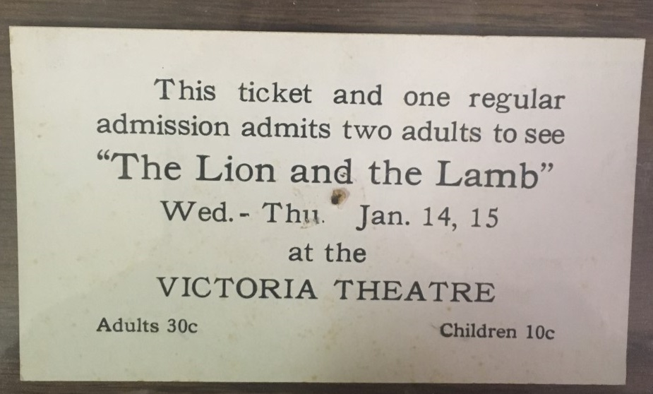 "Ticket to a production of ""The Lion and the Lamb"" at the Victorian Opera House."