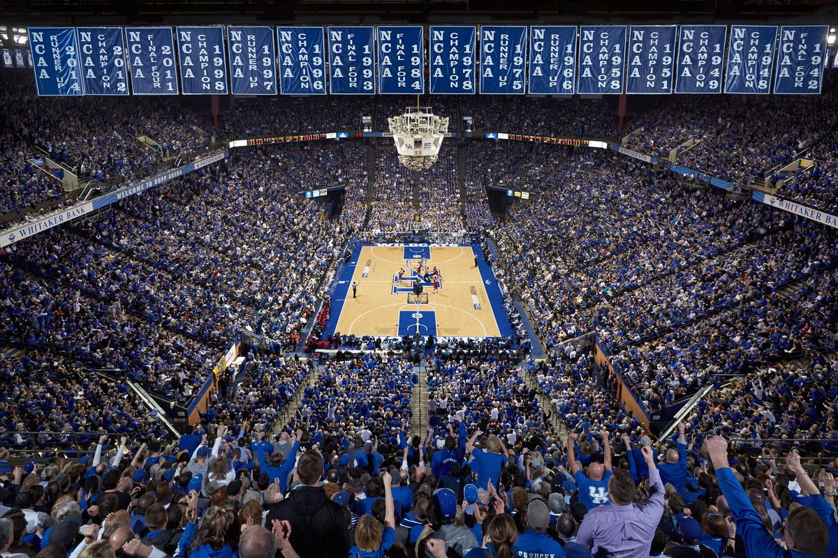 Rupp Arena during a Kentucky Wildcats basketball game.