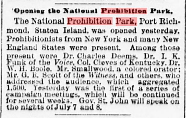 July 5th, 1888 newspaper article on Prohibition Park opening