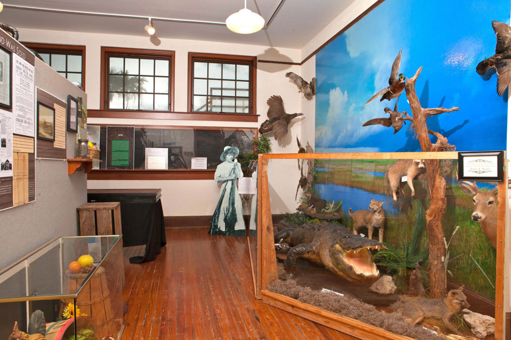 Within the bottom story of the schoolhouse resides multiple exhibits that showcase the agricultural and natural history of the Davie/Everglades community.