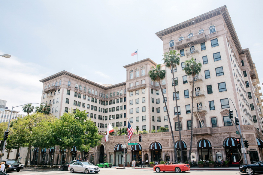 The Beverly Wilshire Hotel, located at 9500 Wilshire Boulevard in Beverly Hills