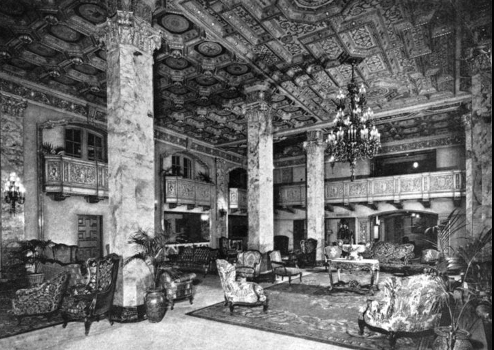 The lobby of the Beverly Wilshire Hotel as it looked in the 1930s