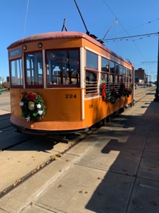 A trolley connects visitors to the nearby trolley museum