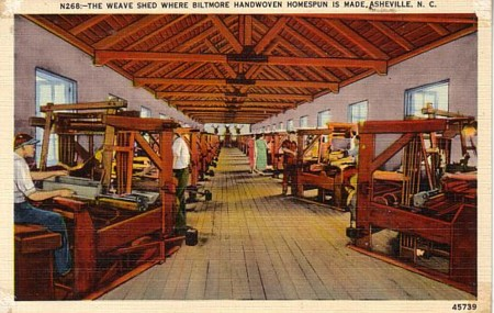 Vintage postcard showing the inside of the weaving shed